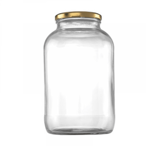 Consol 2L glass jar with gold colour metal lid
