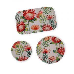 Ecoelephant Dish Cover Set Protea Print Thin (3)
